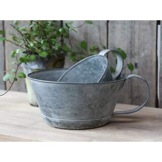 French Flowerpot w. Handle med. Colour: Antique zinc