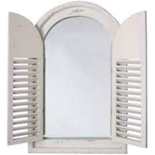 Antique white mirror with french doors