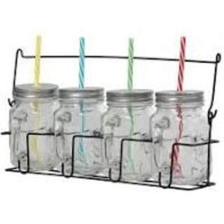 4 Jam Jars with Carry Case Set of 4 with Blue Straws lrg