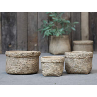 Corte flowerpot w. Braided pattern Colour: Antique nature