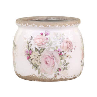 Naves Flowerpot w. rose pattern