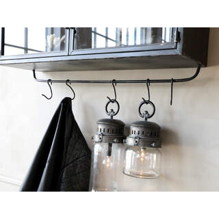 French Stable Lantern incl. Bulb & Timber Colour: Antique coal