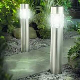Motion Sensor Stainless Steel Bollard Light - Twin Pack