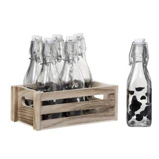 Crate 6 Bottles With Stopper Cow Pattern Wood/Glass Transparent/Black